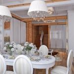 столовая в деревянном коттедже