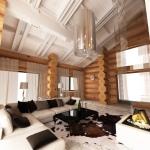 Дизайн интерьера бревенчатого дома - гостиная
