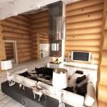интерьер гостиной в бревенчам доме