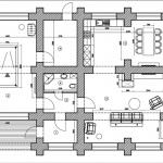 План загородного бревенчатого коттеджа